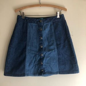 5/$25 Buttons Button Up Two-Toned Denim Skirt